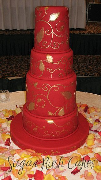 Wedding Cakes Gold And Red
