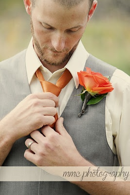 vintage inspired groom? Just switch that orange out with blue and maybe even a dusky rose shirt? ... maybe...
