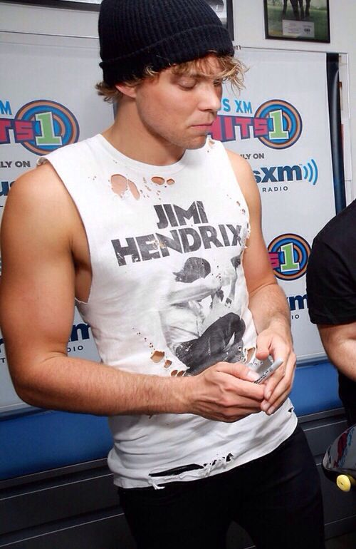the muscles and the ripped jimi hendrix shirt are not good for my health. But…