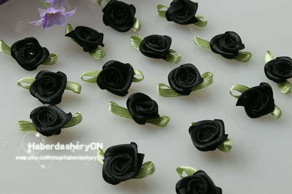 R13 Black FREE SHIPPING 450pcs Satin Ribbon Rose by haberdasheryCN, $16.00