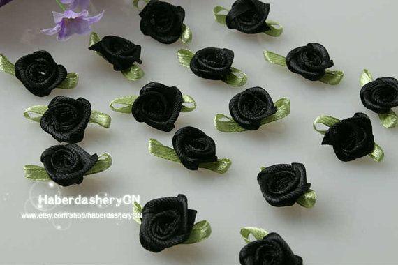 R13 Black FREE SHIPPING 450pcs Satin Ribbon Rose by haberdasheryCN, $16.00