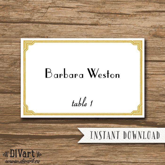 Place Cards Template - INSTANT DOWNLOAD - Escort Cards Template