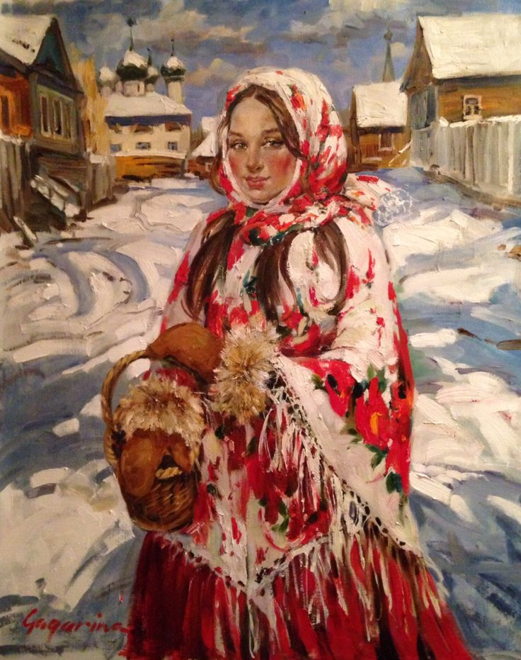 """irina gagarina """" russian winter"""" oil painting, women portret"""