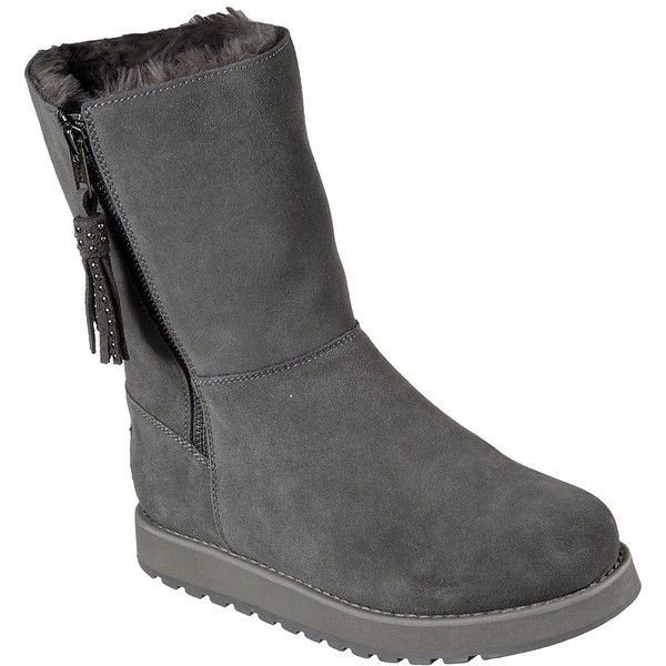 Skechers Women's Keepsakes - Fuzzy Feelings Gray - Skechers (£56) ❤ liked on Polyvore featuring shoes, grey, skechers footwear, skechers shoes, zipper shoes, fuzzy shoes and grey shoes