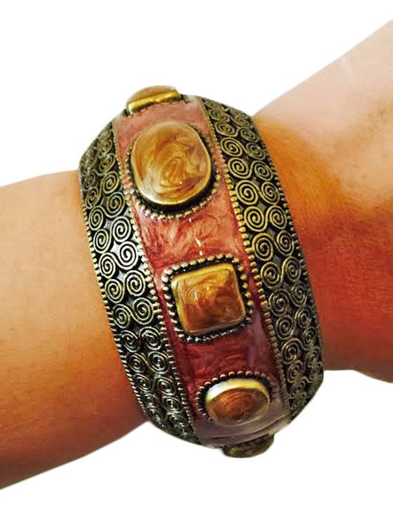 Fitness Activity Tracker Bracelet for Jawbone Up - The VENUS Brown and Sienna Antiqued Gold Jawbone Bracelet - FREE SHIPPING  |  FUNKtional Wearables Fitness Activity Tracker Jewelry and Accessories