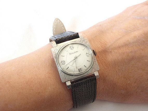 Bulova Watch Beau Brummel White Gold Diamond by ArtDecoAntiques