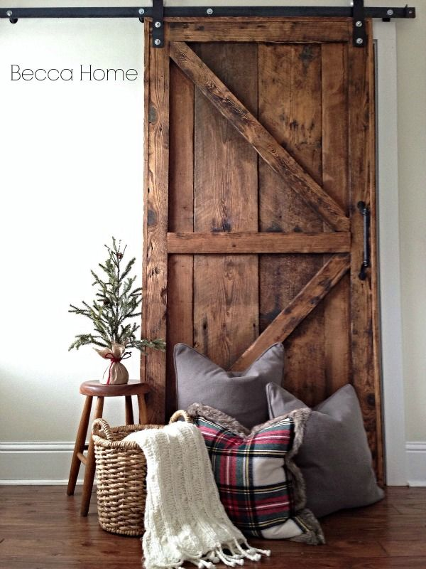 Custom Barn Door | Becca Home Design | Custom Pillows | Holiday Decorating Services.