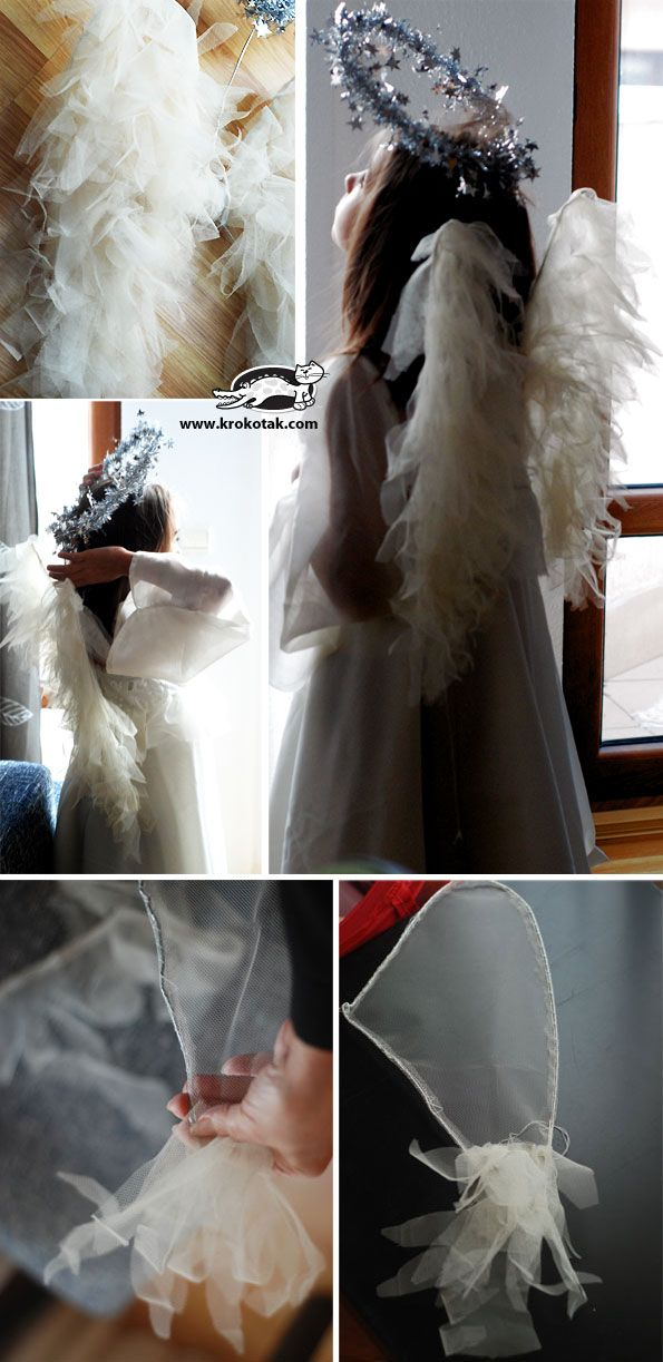Reminds me of an angel costume my daughter Sarah's auntie Corrine made her for the church Christmas concert