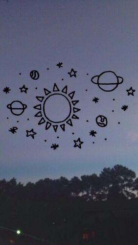 planetas desenhados no céu  venha me seguir!