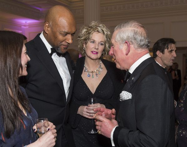 Prince Charles, Prince of Wales,  President of The Princes Trust, chats to with Colin Salmon as he attends the annual Princes Invest In Futures reception at The Savoy Hotel on February 9, 2017 in London, England.