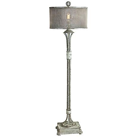 Uttermost Pontoise Distressed Aged Ivory Green Floor Lamp