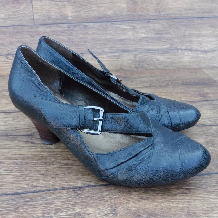 SIZE UK 4.5 E WIDE FIT CLARKS DAPPLE GREY SOFTWEAR CHARCOAL LEATHER COURT SHOES