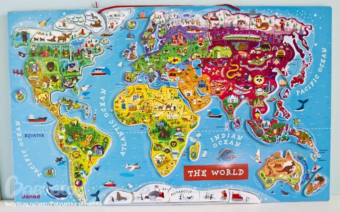 Магнитная карта мира от Janod. Для маленьких путешественников - Простые вещи. Игрушки и предметы декора из дерева. - Babyblog.ru