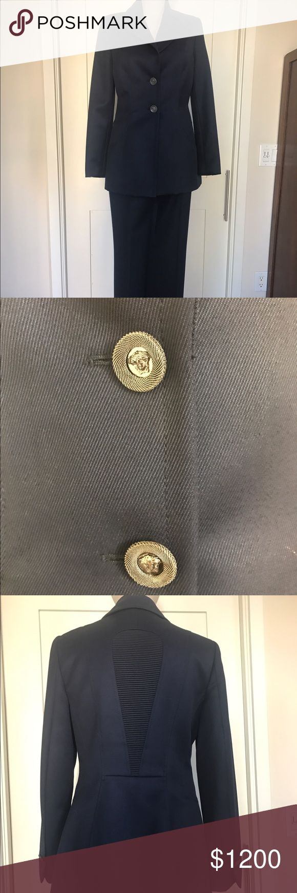 Midnight Blue Versace Suit -s42 Check out this stunning Versace pant suit. Both the Jacket and the pants are size 42. The buttons are silver. They look old in the photo for some reason. I purchased this at Nordstrom about five years ago, wore it twice, and then, darn it, I gained weight. So it has been nestled in my closet for the last five years. This beauty cost me $3500. But I'm no longer a size 42. Dang! And so I'm selling it here. Hopefully someone will love it as much as I did the few…
