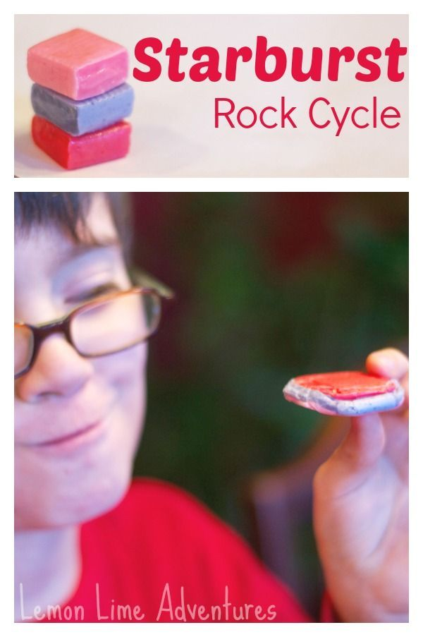 Starburst Rock Cycle for Kids: Easy, Fun and Yummy! Could easily make sedimentary rocks (with pressure and Starburst) in the classroom. The other types of rocks would be harder as you need heat. #geology