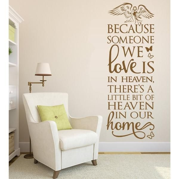 Because Heaven Angel Wall Stickers Home Decor Living Room Bedroom Wedding Wall Art Decoration
