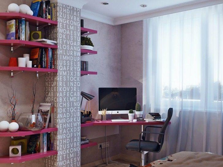 Bedroom, Curtain Plant Vase Pink Gray Kids Girls Bedroom Scheme Ceiling Lamps Black Table Lamp Armchair Tv Bookshelves Blanket Aquarium Books Rulers Pencils And Window ~ Beautiful Teenage Room As Well As Possible