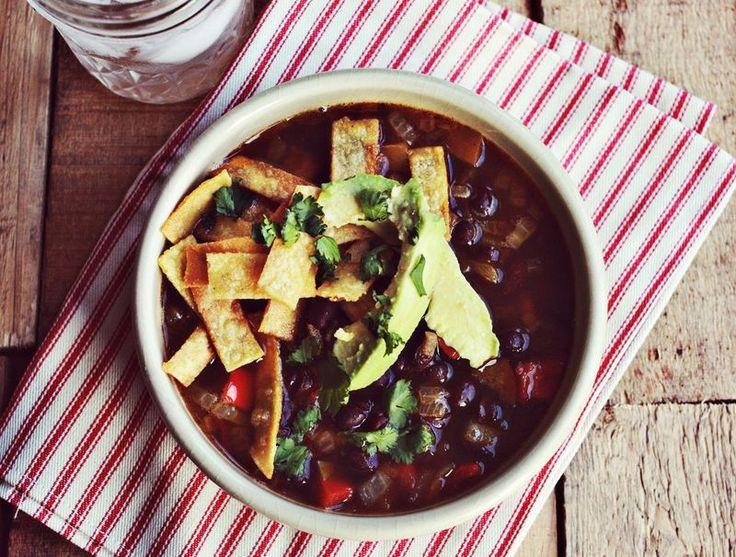 Black Bean Tortilla Soup #vegan