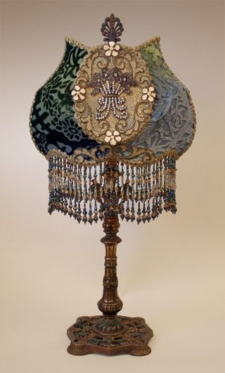"""Cameo Victorian Lampshade with Rhinestones...from Christine Kilger Nightshades.  This is just an amazing site with the most beautiful """"upcycled"""" vintage and antique lamps that you will find anywhere."""