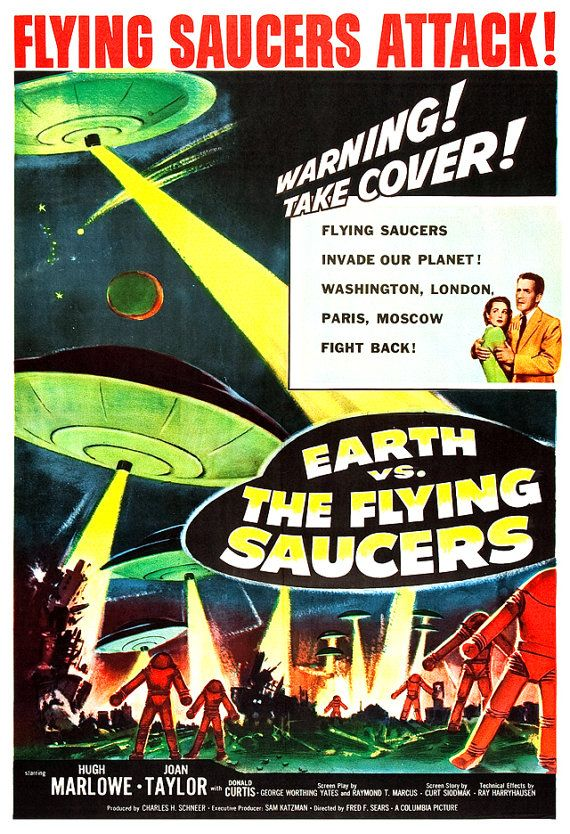 Earth vs The Flying Saucers Sci Fi Movie Poster by jangoArts