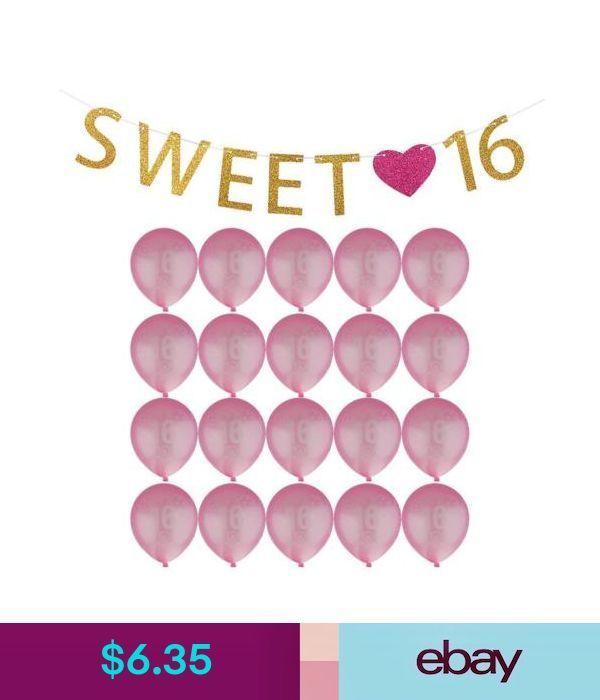 Balloons, Decorations Girls Sweet 16 Heart 16Th Birthday Banner Room Decoration 20Pcs Age Balloons #ebay #Home & Garden - #balloons #banner #birthday