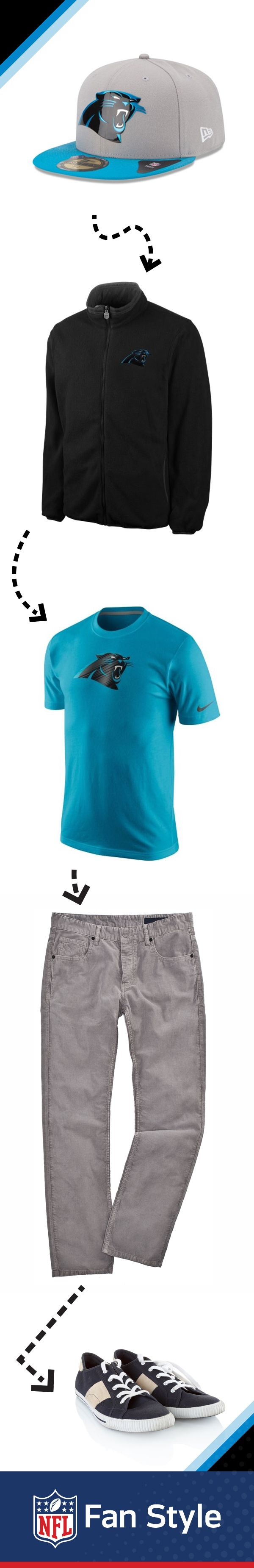We can never get enough of that Carolina Panthers blue, so it's always good to make it a staple of any ensemble you're putting together. But, since the weather sometimes won't cooperate with your choice of t-shirt, always come prepared with an extra layer.