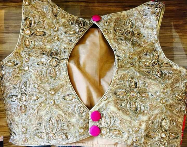 Golden boat neck blouse.. get it at http://mytailor.in/