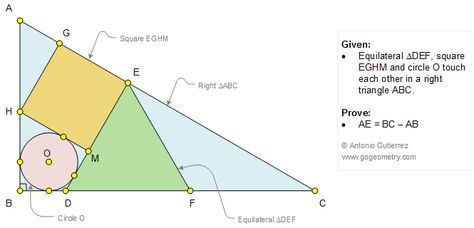 Geometry Problem 1092 Equilateral Triangle, Square, Circle, Tangent, 90 Degree, Sangaku