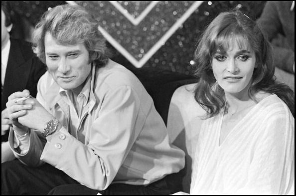 Johnny Hallyday and Margot Kidder on the set of television show 'Johnny Hallyday 20 Ans Apres' in 1979