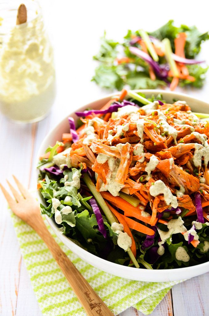 Vegan Buffalo Chicken Salad that is made from... fruit!
