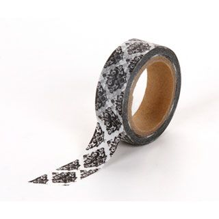 Black and White Damask Print Washi Tape