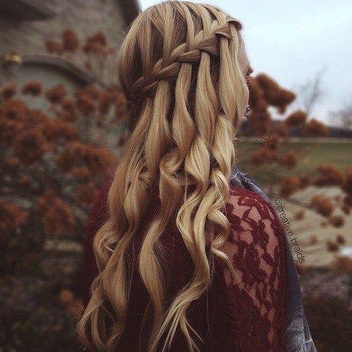 polish half updo with waterfall braid and curls