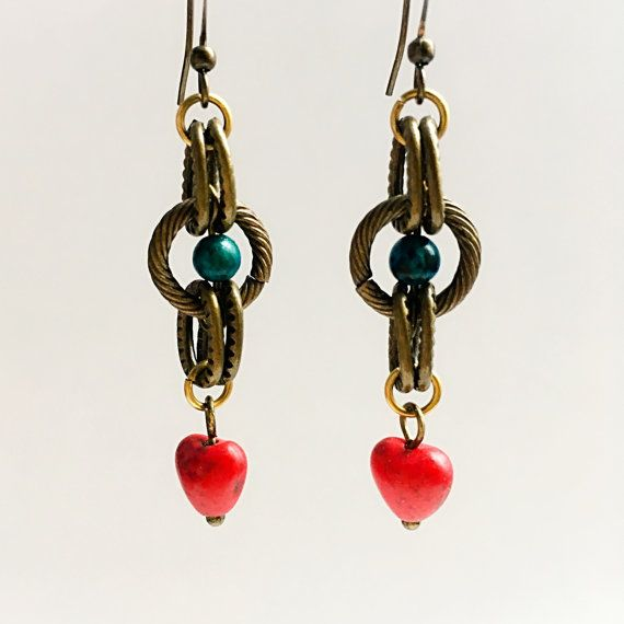 Red Stone Heart Earring by VexedUpBoutique on Etsy