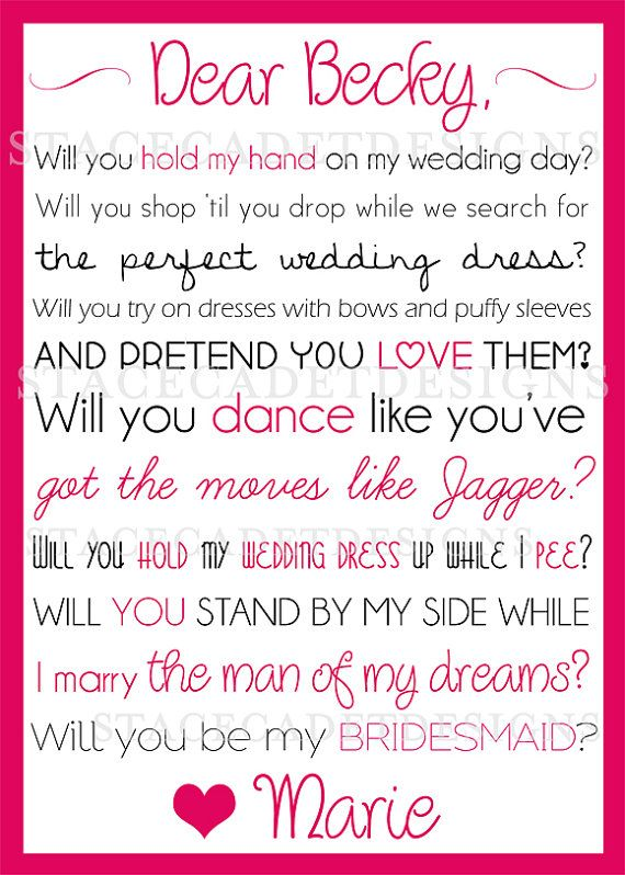 179 best wedding ideas images on pinterest wedding details custom printable will you be my bridesmaid or maid of honor card digital file spiritdancerdesigns Image collections