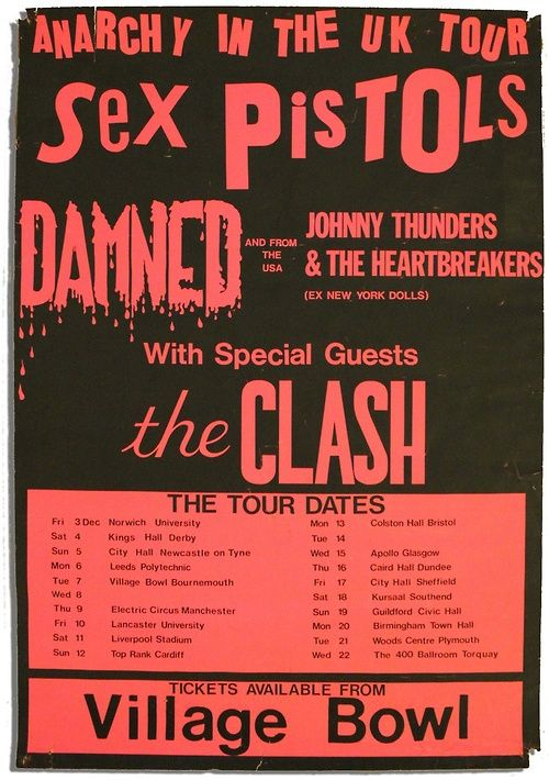 Sex Pistols 'Anarchy in the UK' tour poster - with The Damned, The Clash and Johnny Thunders & The Heartbreakers, December 1976.