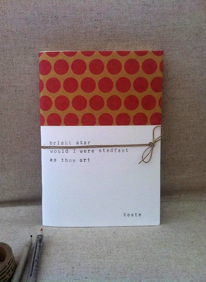 Bright Star handmade Notebook - Poetry - Keats