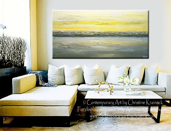 Giclee print art abstract painting yellow grey wall art coastal canvas prints urban gold white