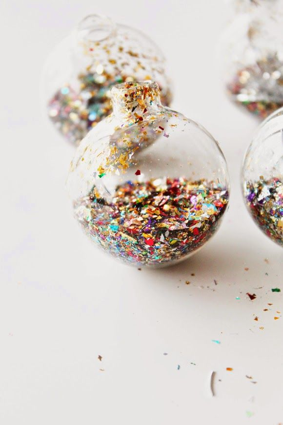 share the sparkle with glitter ornaments.