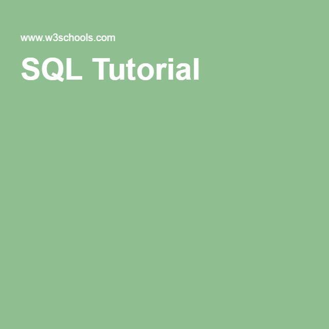 W3Schools.com/ SQL Tutorial