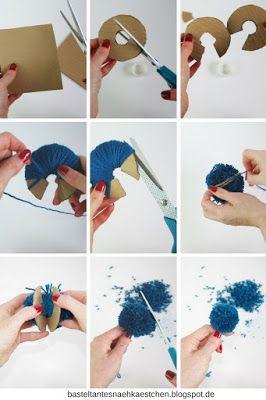 collage pompoms bommel mit pappe selber machen diy. Black Bedroom Furniture Sets. Home Design Ideas