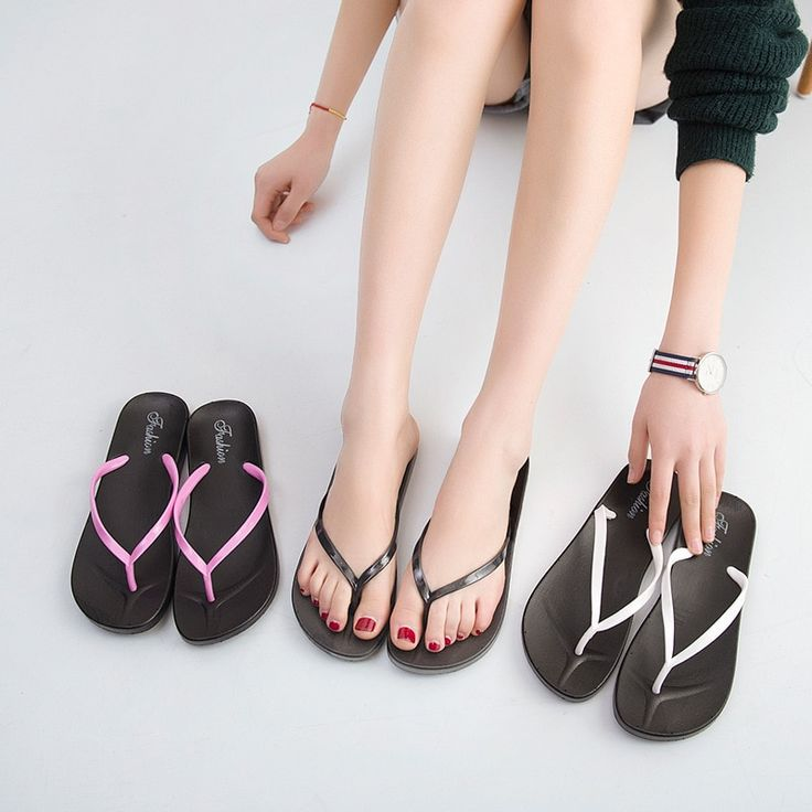 Summer pure color ladies casual cool slippers women's foot non-slip flat simple beach shoes flip flops tong femme