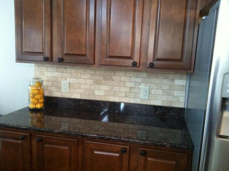 Tile backsplash on dark granite | House Ideas | Pinterest on What Backsplash Goes With Black Granite  id=69345