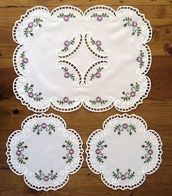 Designs in Stitches - Floral Splendor Cutwork 1 & Floral Splendor Cutwork Doily 1
