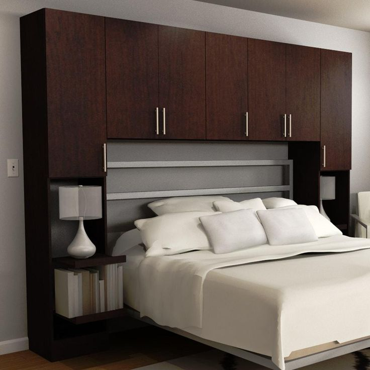 Horizon Queen Size Bed Surround Melamine Cabinets in Mocha (Brown)