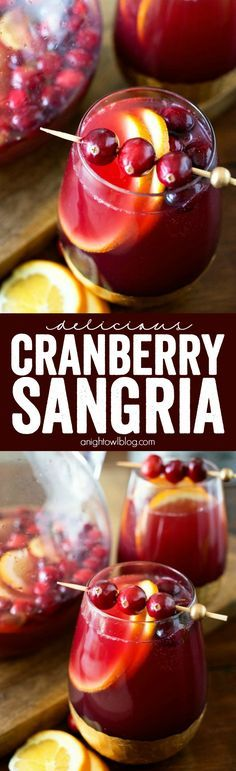 This Easy Cranberry Sangria is delicious and the perfect cocktail for the holidays! Perfect in #WorldMarket Gold Faceted wine glasses! #worldmarkettribe