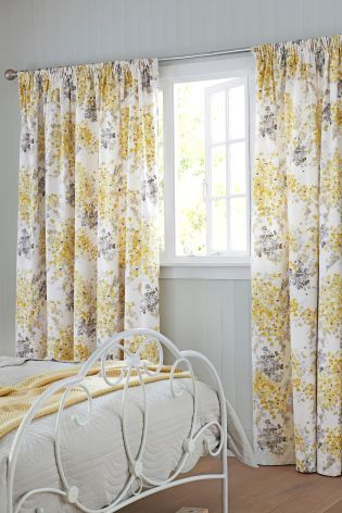 Ochre Watercolour Floral Pencil Pleat Lined Curtains Pale