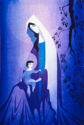 Il grande disegnatore di fondali dei cartoon Disney, pittore e scultore, ha realizzato questa Madonna nei toni del blu, un'immagine davv...