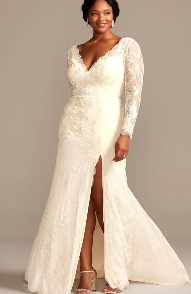 Romantic Boho Vibes Meet Modern Simplicity In This Sheath Wedding Dress The Allover Lace Il In 2020 Plus Wedding Dresses Wedding Dress Long Sleeve Wedding Dress Styles