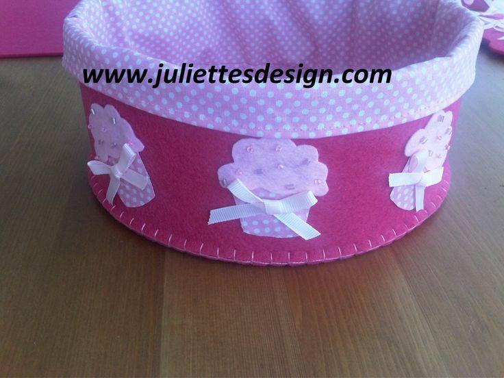 Cupcake desenli ekmek sepetleri. Cupcake bread box. www.juliettesdesign.com