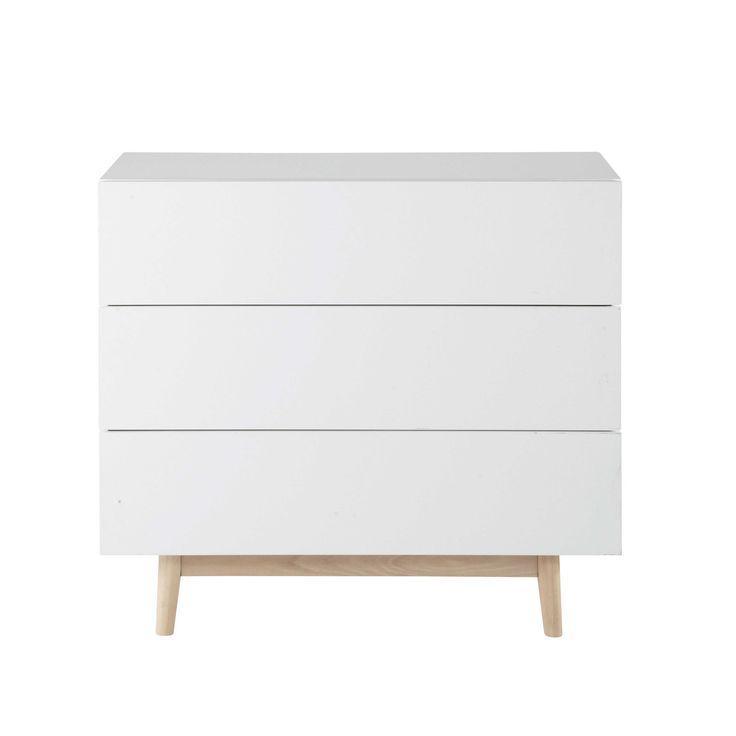 Vintage white wooden chest of drawers L 90 cm Artic | Maisons du Monde